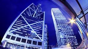 Hong Kong City Night Timelapse. Tätt zooma ut sköt lager videofilmer