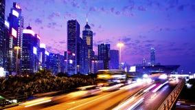 Hong Kong City Night Timelapse. Zooma sköt in. arkivfilmer
