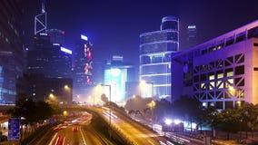 Hong Kong City Night Timelapse. zoomen 4K ut sköt stock video