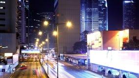 Hong Kong City Night Timelapse. Zoomen ut sköt. arkivfilmer