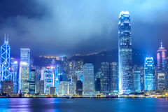 Hong Kong City Night View Royalty Free Stock Photos