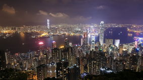 Hong Kong city at night, view from The Peak. Time-lapse of Hong Kong city at night, view from The Peak stock footage