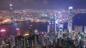 Hong Kong city at night, view from The Peak. Time-lapse of Hong Kong city at night, view from The Peak stock video