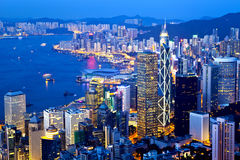 Hong Kong city night view at peak Stock Photos