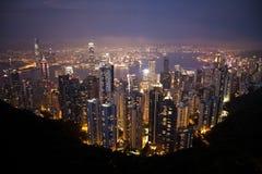 Hong Kong City at night. View from Victoria Peak looking north towards Victoria Harbour and Kowloon, Hong Kong Stock Images