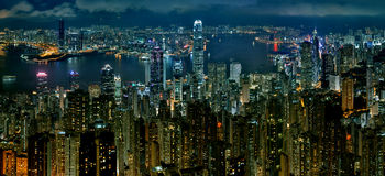 Hong Kong City at nigth Royalty Free Stock Photography