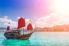 Hong Kong City och Skyscape Royaltyfri Foto