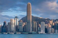 Hong Kong city office building over Victory bay Royalty Free Stock Image