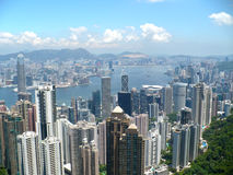 Hong Kong city from the Peak. The city of Hong Kong from the top of the Peak looking toward Kowloon Stock Photography