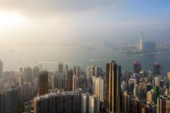 Hong Kong city scape. Hong Kong top view from victoria peak Royalty Free Stock Photo