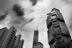 Hong Kong city. Hong Kong city sky line and running cloud in black and white Stock Photos