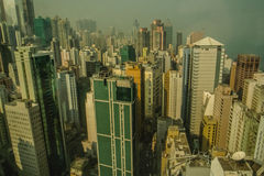 Hong Kong city skyline. High angle view of Hong Kong city skyline with misty background, China Royalty Free Stock Images