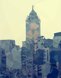 Hong Kong city skyline abstract triangles modern background, vec Stock Photo