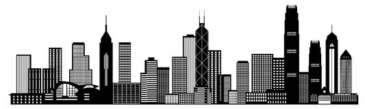 Hong Kong City Skyline Black och vit vektorillustration Arkivbilder