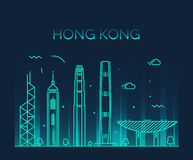 Hong Kong City skyline detailed silhouette vector Stock Photos