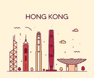 Hong Kong City skyline detailed silhouette vector Stock Photo