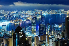 Hong Kong city skyline at mid night Stock Photography