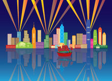 Hong Kong City Skyline Night Color Panorama Vector Illustration. Hong Kong City Night Skyline with Laser Light Rays Panorama Color on Blue Background Vector royalty free illustration