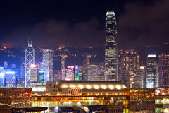Hong Kong city skyline at night. Night view of Tsim Sha Tsui waterfront, with iconic buildings from Central district of Hong Kong in the background Stock Images