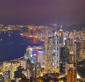 Hong Kong city skyline panorama at night with Victoria Harbor Royalty Free Stock Image