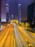 Hong Kong city skyline panorama at night with Victoria Harbor Stock Images