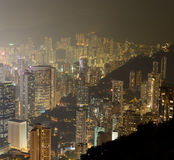 Hong Kong city skyline panorama at night with Victoria Harbor Stock Photography