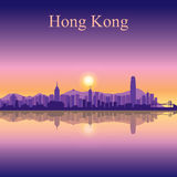Hong Kong city skyline silhouette background Stock Photography