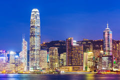 Hong Kong city skyline with Victoria Harbor and skyscra Royalty Free Stock Image