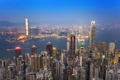 Hong Kong city skyline. View from Victoria Peak stock photos