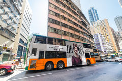 Hong Kong city with skyscrapers and bus Stock Images