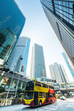 Hong Kong city with skyscrapers and bus Royalty Free Stock Photography