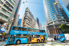 Hong Kong city with skyscrapers and bus Stock Image
