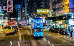 Hong Kong city streets at night Stock Photos