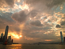 Hong Kong City Sunset. Beautiful sunset view in Hong Kong Victoria Harbour Stock Photos