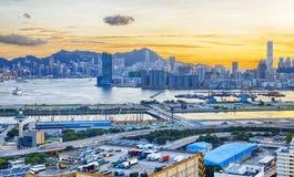 Hong Kong City Sunset Royalty Free Stock Photos
