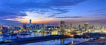 Hong Kong city sunset. View from kowloon side Royalty Free Stock Image