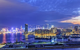 Hong Kong city sunset. View from kowloon side Royalty Free Stock Photo