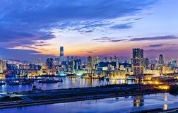 Hong Kong city sunset Stock Image