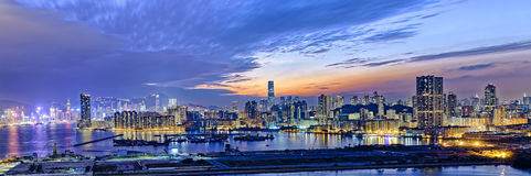 Hong Kong city sunset Stock Image
