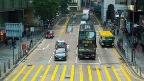 Hong Kong city traffic Bus and tram Timelapse stock video footage