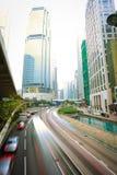 Hong Kong of City traffic at night Royalty Free Stock Photo