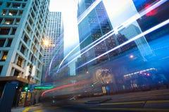 Hong Kong of City traffic at night Royalty Free Stock Photos