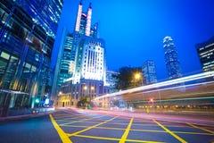 Hong Kong of City traffic at night Stock Photos