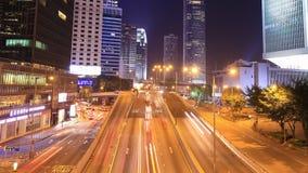 Hong Kong city and traffic at night. Time-lapse of Hong Kong city and traffic at night stock video