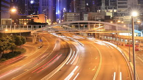 Hong Kong city and traffic at night. Time-lapse of Hong Kong city and traffic at night stock footage