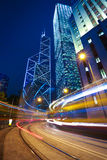 Hong Kong of City traffic at railroad night Royalty Free Stock Photo