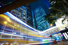 Hong Kong of City traffic at  station night Royalty Free Stock Photo