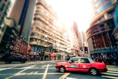 Hong Kong city with transport and plenty advertisements royalty free stock photography