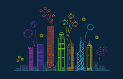 Hong kong city vector panorama with festive fireworks. China line cityscape with buildings Stock Images