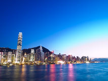Hong Kong City and Victoria Harbour. In logng exposure Royalty Free Stock Photography